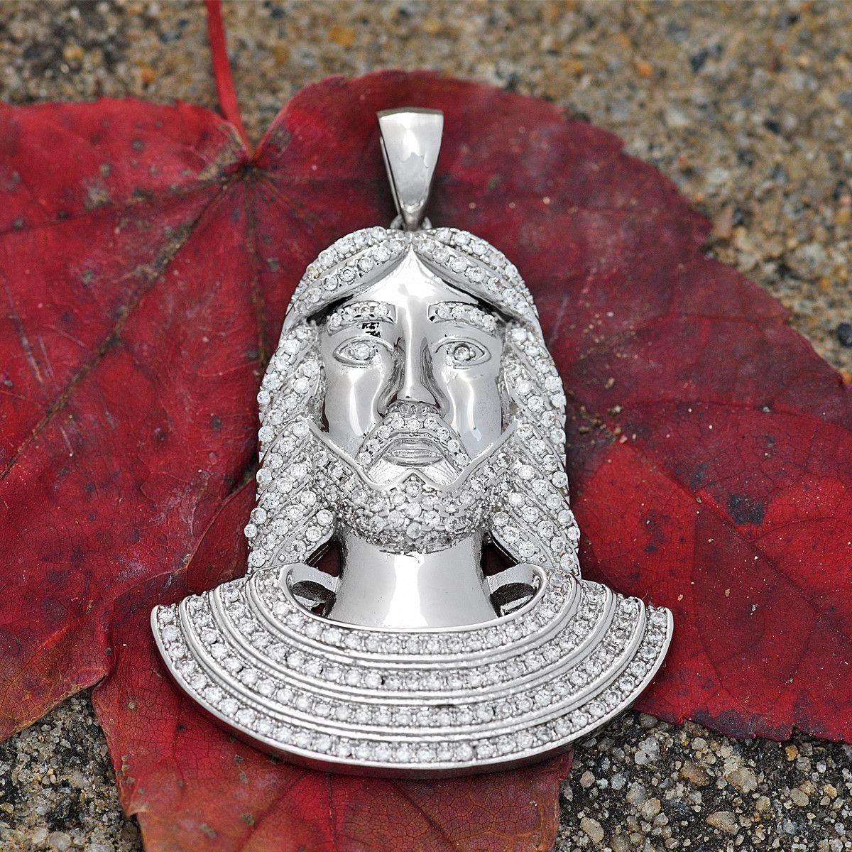 Jesus Pendant Christ 18K White Gold Finish Lab Diamonds