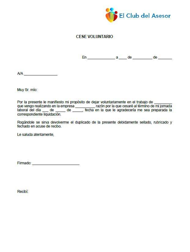 Carta Comunicación De Cese Voluntario Cartas Y Jornada Laboral
