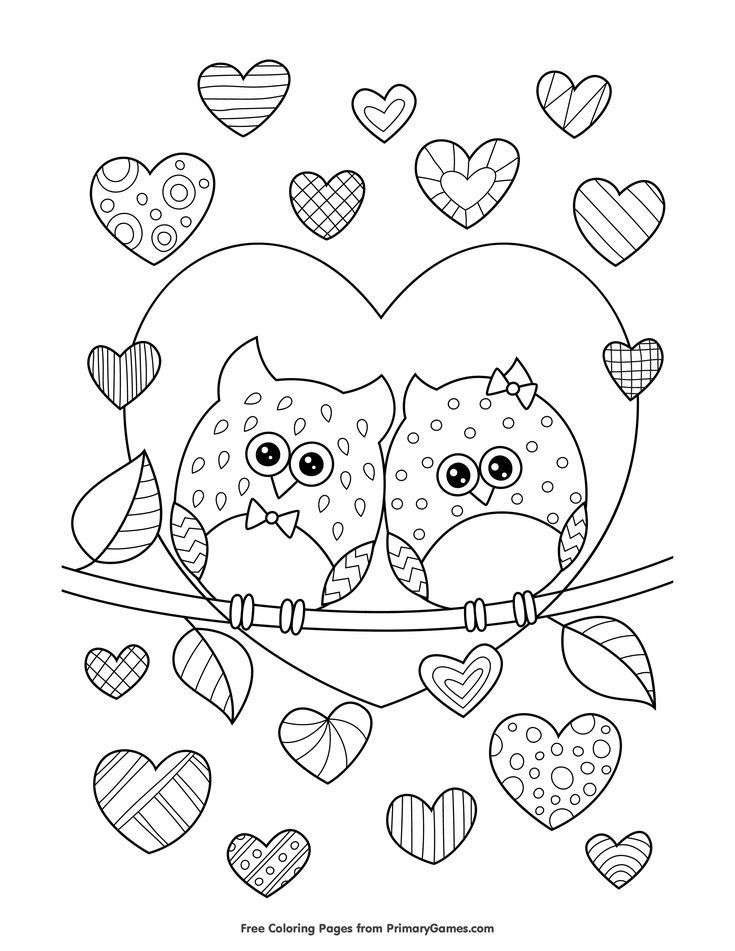 Owls in Love with Hearts Coloring Page • FREE Printable eBook