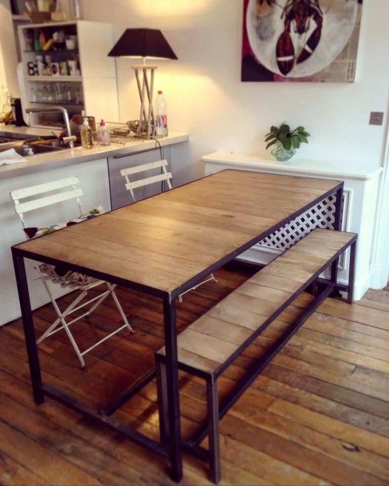table de salle à manger en parquet de chêne massif et piètement - Salle A Manger Parquet