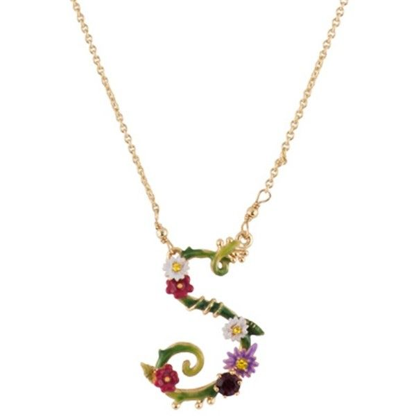 Les Nereides Floral Letters S Necklace (404373601) ($125) ❤ liked on Polyvore featuring jewelry, necklaces, green, letter necklaces, initial necklaces, beaded necklaces, leaf necklace and heart chain necklace