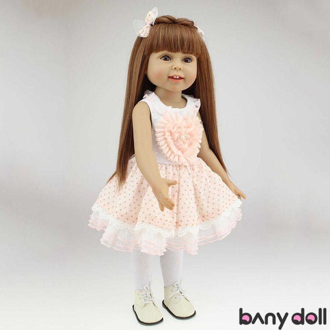 "18/"" Full Body Plastic American Girl Blonde Long Hair Doll Fashion Gift Lifelike"