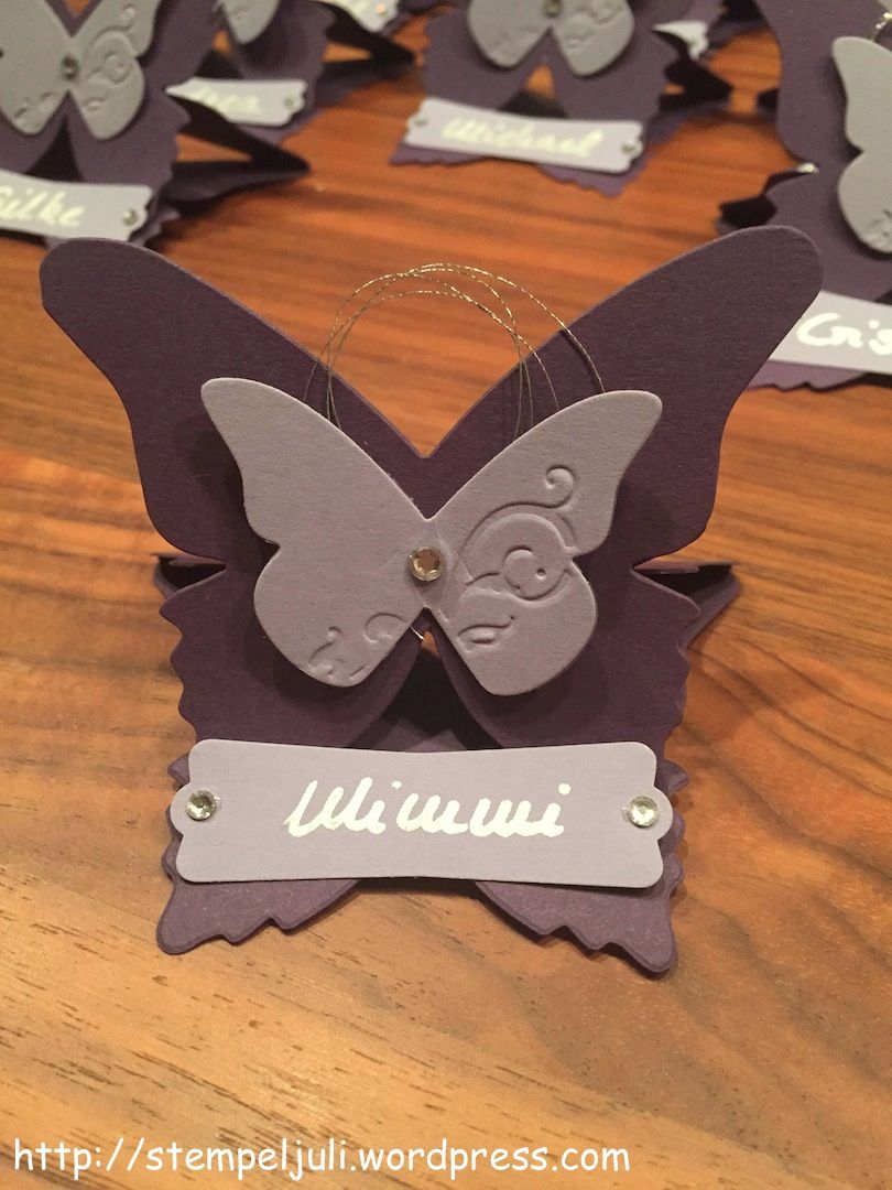 Stampin Up Platzkarte Namensschild Tischdeko Schmetterling