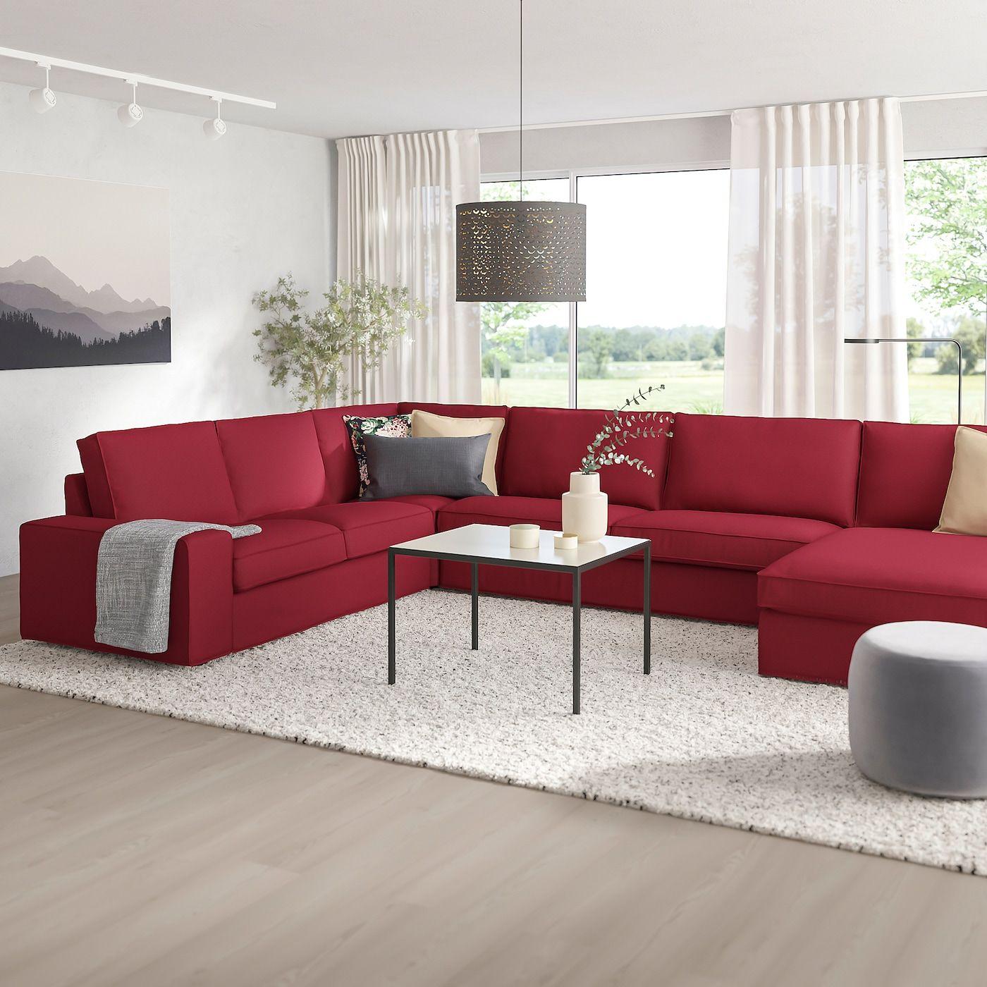 Ikea Kivik Ecksofa 6 Sitzig Mit R Eacute Camiere Orrsta Rot In 2020 Wohnzimmer Farbschema Sofa Ecksofa