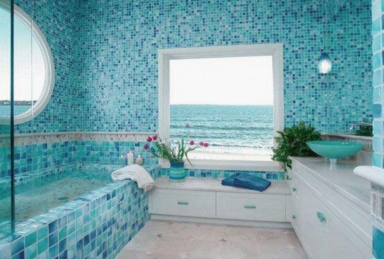 Beautiful Sea Inspired Bathroom Decor Ideas With Fascinating Wall Tiles Coastal Bathroom Design Blue Bathroom Mosaic Bathroom Tile