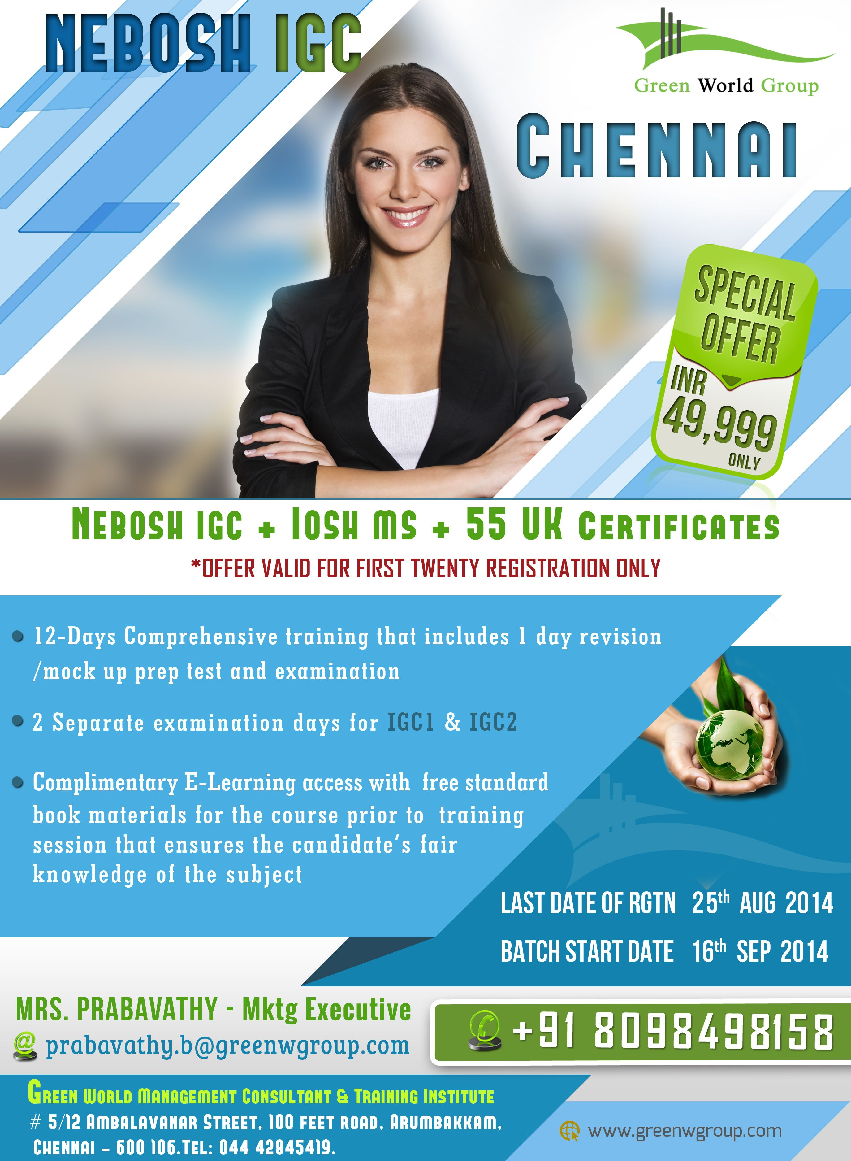 Green World Group S Splendid Offers For Nebosh Course In Chennai At