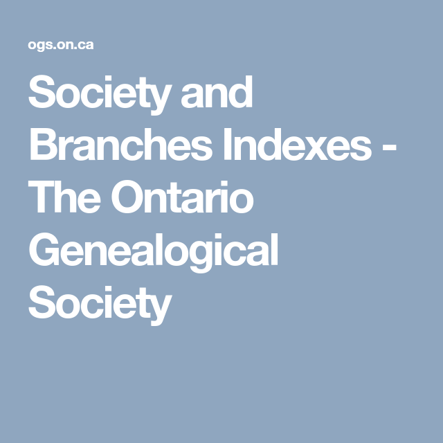 Society And Branches Indexes