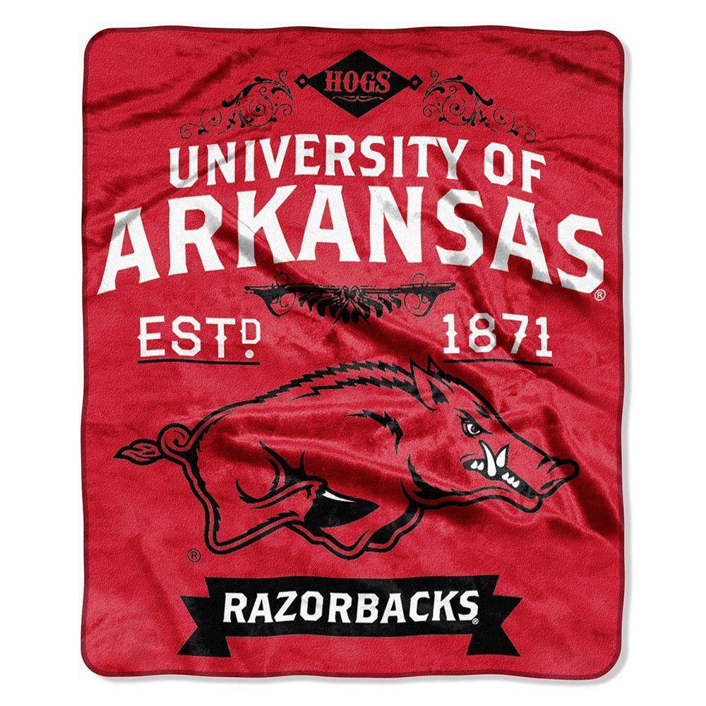Arkansas Razorbacks NCAA Royal Plush Raschel Blanket (Label Series) (50x60)