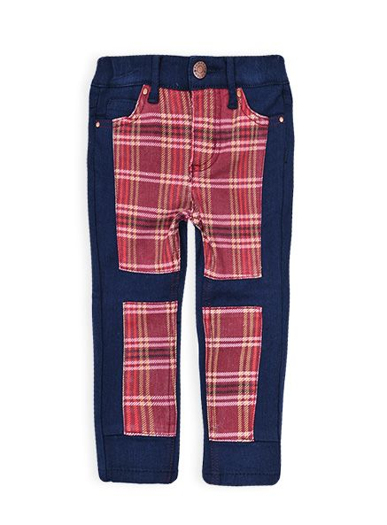 Pumpkin Patch - jeans - check panelled jean - medieval blue - 12-18m to 5