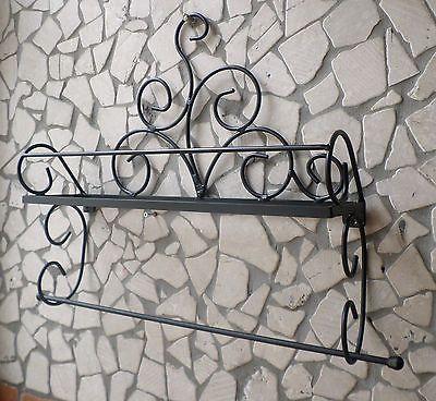 Dettagli su Mensola in ferro battuto porta spezie barattoli ...