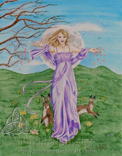 """""""The Goddess Ostara's (Eostre's) celebration day can vary from the spring equinox (circa March 21) to the first full moon after the equinox. She is the Anglo-Saxon / Germanic Goddess of new beginnings, fertility, hope and renewal. It is a time of balance between day and night. Her symbols include the hare, colored eggs, spring flowers, in older times celebrants wore brand new clothing to celebrate her festival.  Click the link to learn more!"""