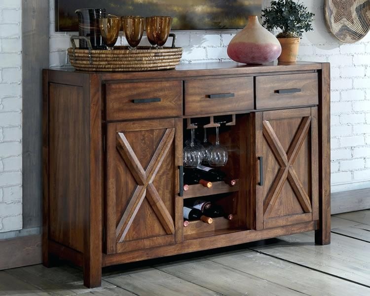 Small Sideboard With Wine Rack Sideboards Rustic And Buffets Best Dining Room Oak