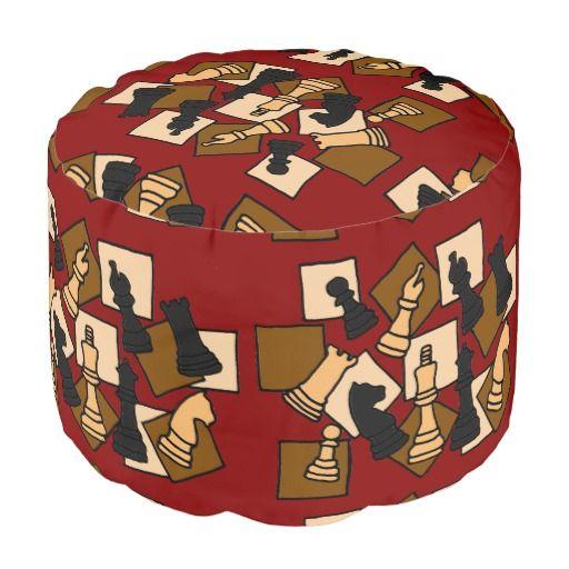 Fun Colorful Chess Pieces Abstract Art Pouf Seat #Chess #game #pieces #abstract #art #pouf #seat And www.zazzle.com/inspirationrocks*