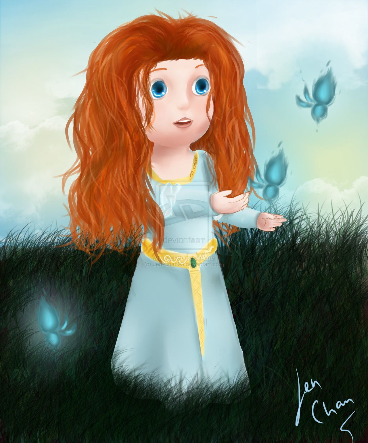 Princess Merida Art | fan art little princess merida brave by jen chan93 fan art digital art ...