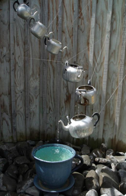 Recycled Garden Projects | Elsewhere: Teapot Garden Fountain/Waterfall | A Gardener's Notebook