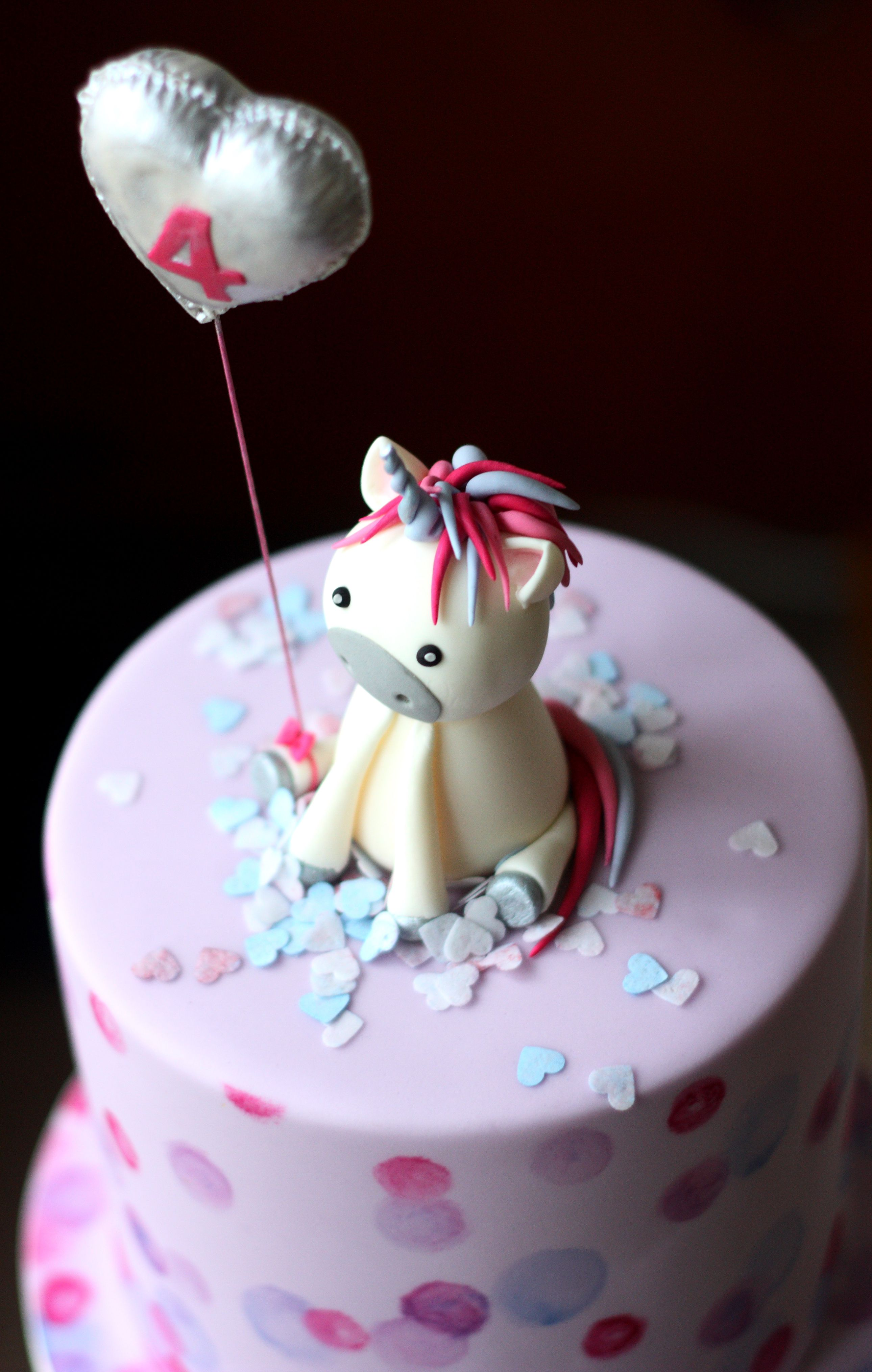 Unicorn Cake Topper And Fondant Number Balloon My Cakes