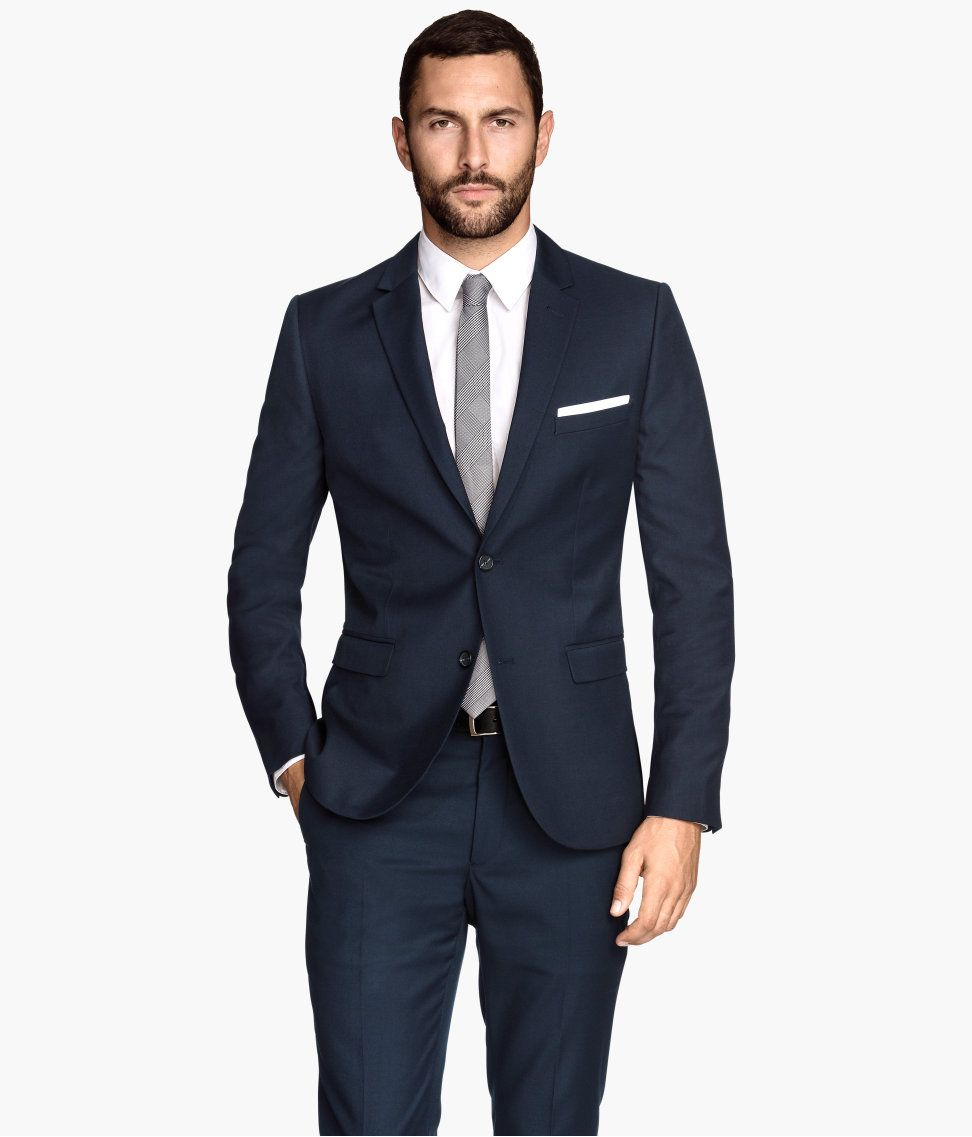 Navy blue suit pants & slim-fit blazer with handkerchief pocket ...