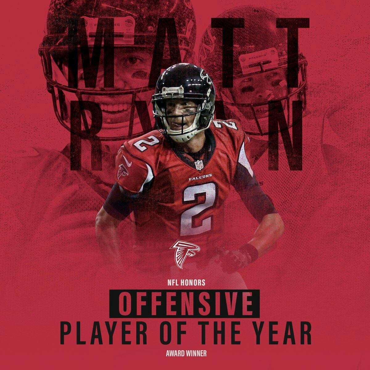 Matt Ryan Named 2016 Offensive Player Of The Year Via Atlantafalcons On Twitter Atlanta Falcons Atlanta Falcons Memes