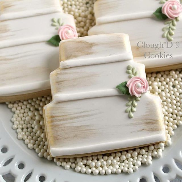 A Little Swipe Of Gold Goes A Long Way Wedding Cookies Wedding Cake Cookies Bridal Cookies Wedding Cookies Decorated