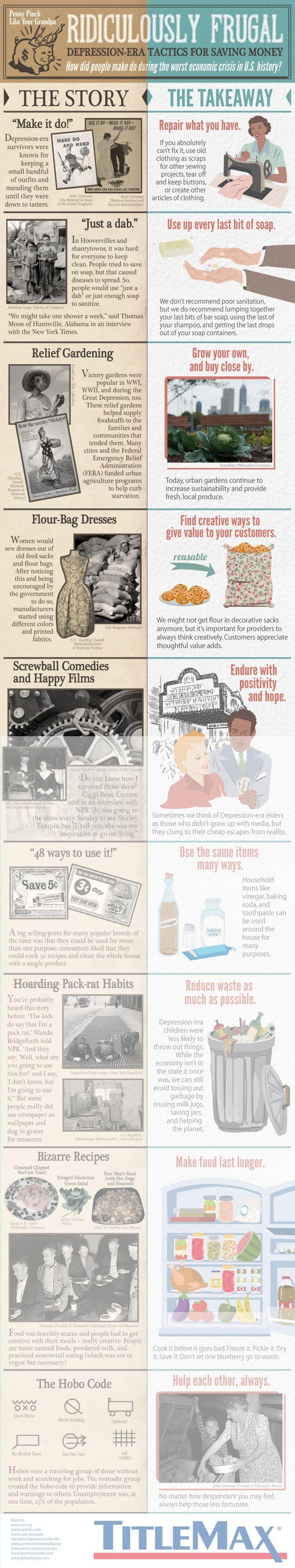 Depression Era Tactics For Faving Your Money Infographic