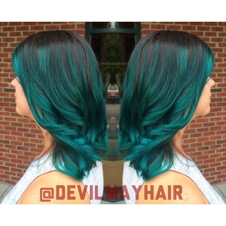 Deep Sea Teal With A Dark Shadow Root Green Teal Ombre Hair Teal Ombre Hair Dark Teal Hair Dark Ombre Hair