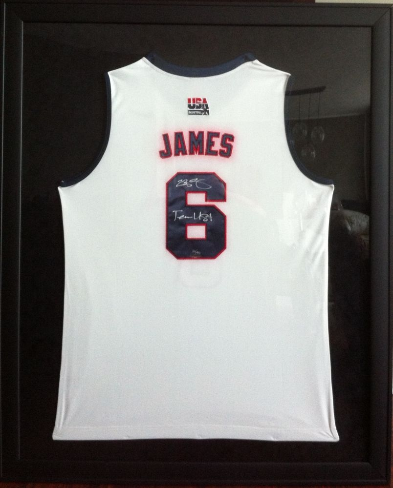 918a3e90536 LeBron James Signed LE Team USA 35x45 Custom Framed Jersey Inscribed