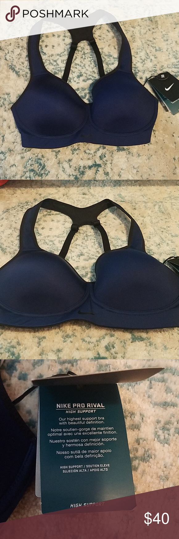 fe2f069859 Nike pro rival sports bra Brand new with tags. Originally  70 Color is dark  blue