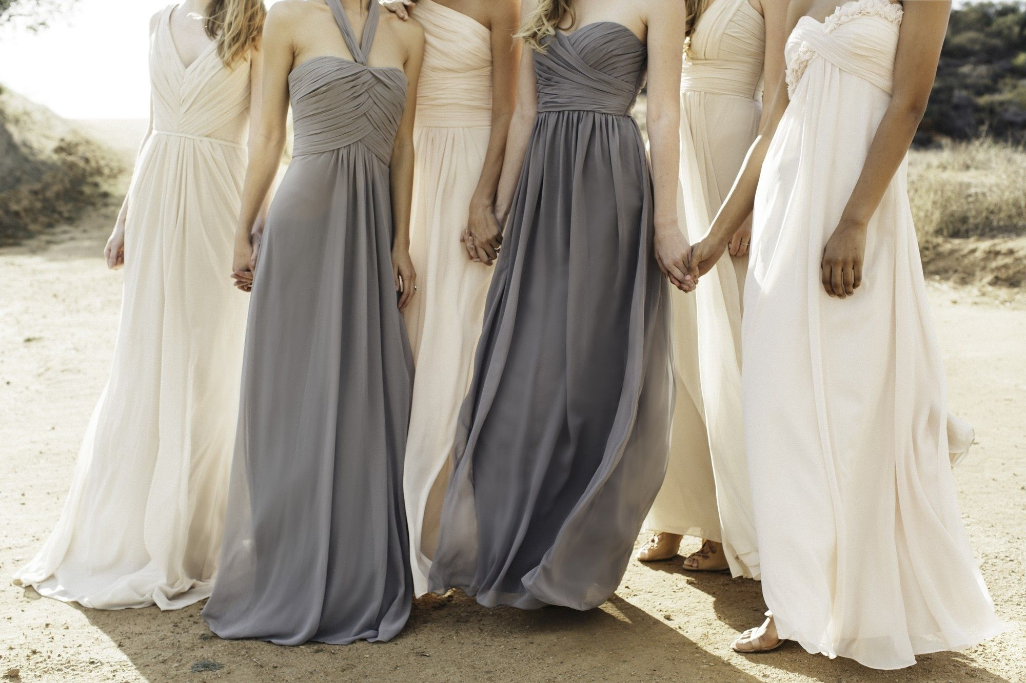 Where can i rent a wedding dress  TBT The perfect blush and slate mlhuillier bridesmaid dresses now