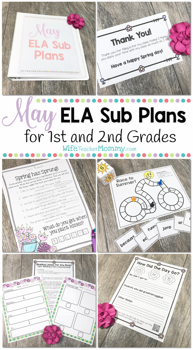 May Sub Plans for 1st Grade and 2nd Grade. These activities are print and GO and so much fun! Your substitute and your students will love them... and you will love how ALL of the work is done for you! Plus, the monthly themes make these extra fun for everyone!