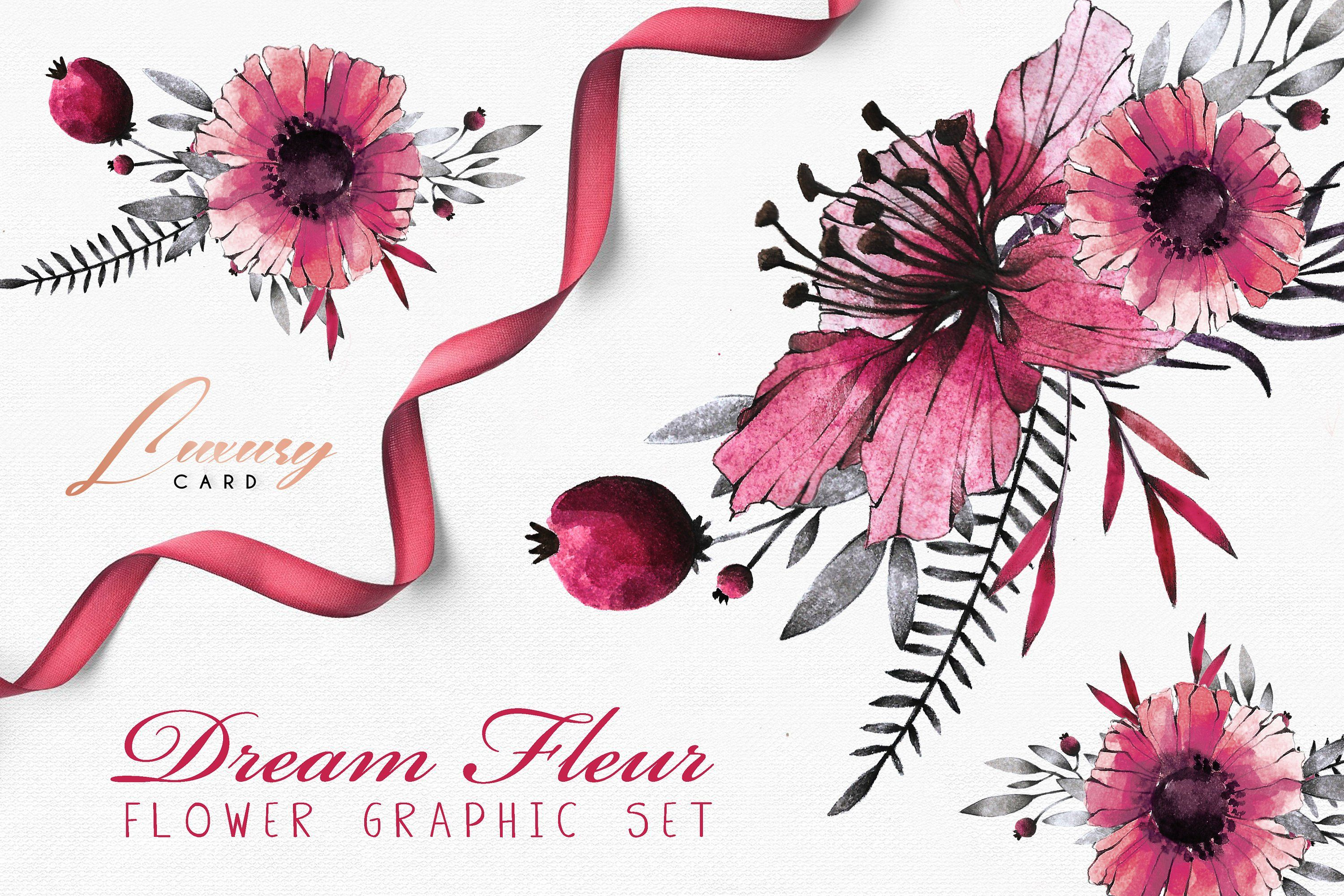 Dream Fleur Watercolor Set Hand Painted Watercolor Flowers