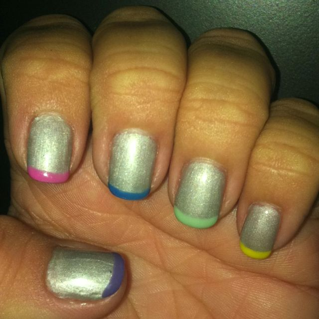 Neon French tip | French tip, Nails, Cool stuff