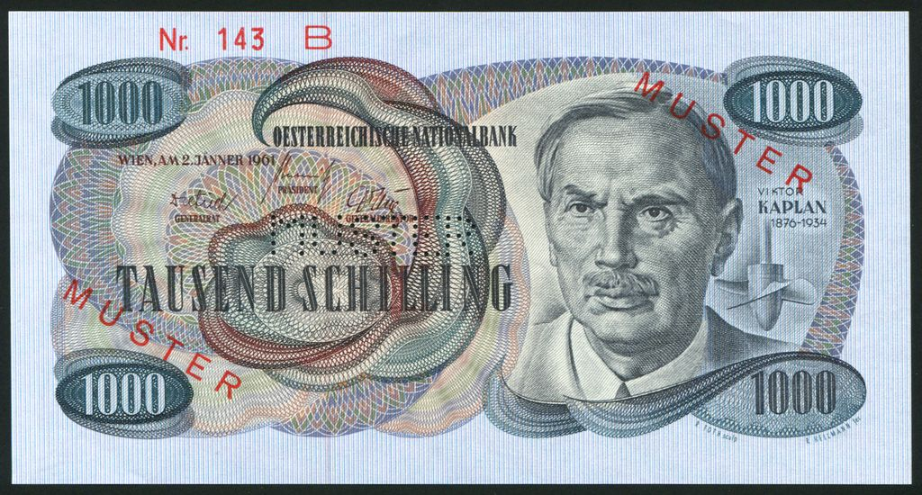 Austrian Money Austria Currency 1000 Schilling Banknote Of 1961