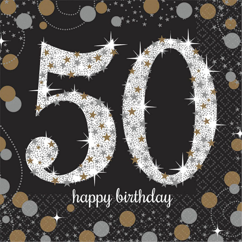 Sparkling Celebration 50th Beverage Napkins 16 Partybell Com 50th Birthday Quotes 50th Birthday Napkins Happy 50th Birthday Wishes