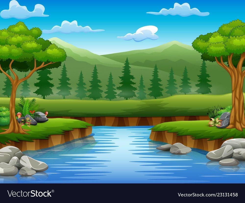 River Cartoons In The Middle Beautiful Natural Sce Vector Image On Pemandangan Referensi Gambar Gambar
