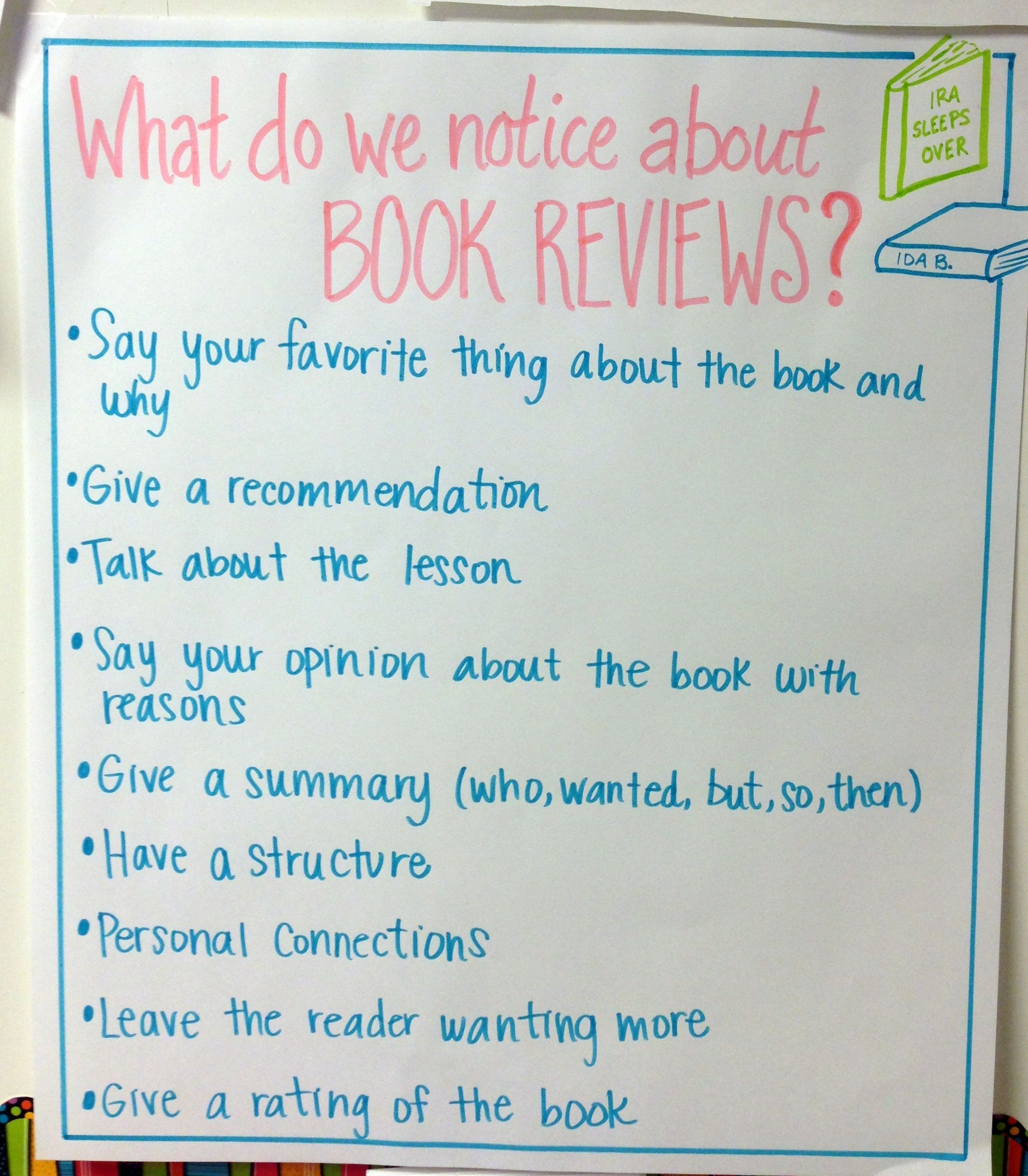 Great Resource For Writing Book Reviews Anchor Charts