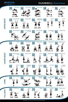 "dumbbell exercise poster 20""x30"" workout poster with 40"