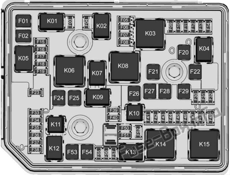 [NRIO_4796]   Under-hood fuse box diagram: Chevrolet Volt (2016, 2017, 2018, 2019) |  Chevrolet volt, Fuse box, Chevy volt | 24 Volt Fuse Box |  | Pinterest