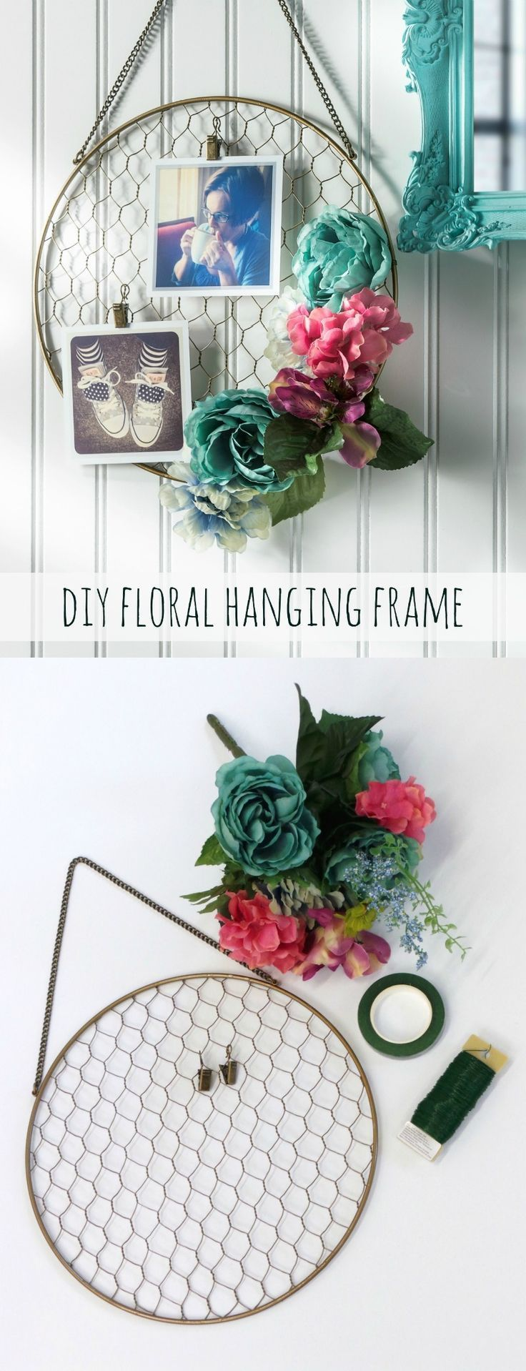 Pretty DIY Floral Hanging Frame | Hanging photos, Faux flowers and ...