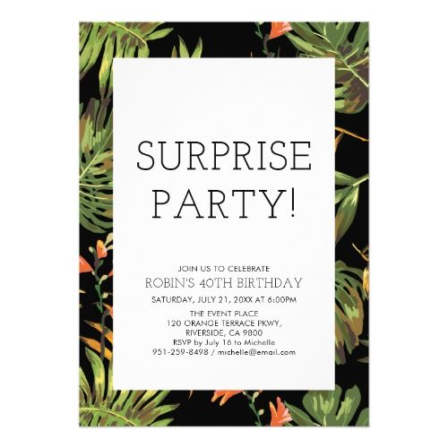 Modern Tropical Adult Surprise 40th Birthday Party Invitation | Zazzle.com #tropicalbirthdayparty