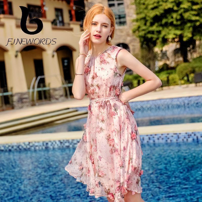 11500c6831215 FINEWORDS 2018 New vestido Summer Floral Chiffon Dress Women Casual ...