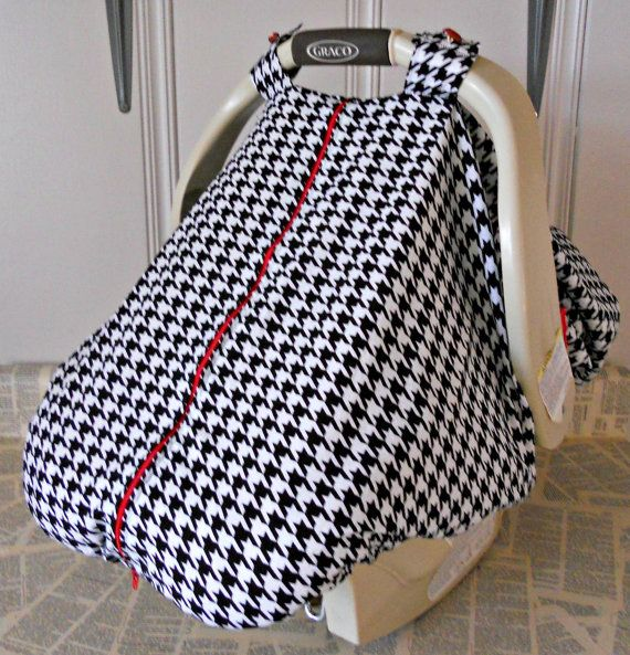 100% Cotton Baby Car Seat Carrier Canopy Cover Houndstooth FREE MONOGRAMMING on Etsy  sc 1 st  Pinterest & 100% Cotton Baby Car Seat Carrier Canopy Cover Houndstooth FREE ...