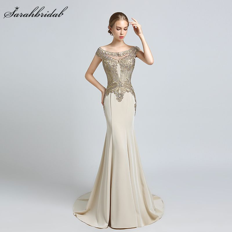 Find More Evening Dresses Information about Robe De Soiree 2018 New  Arrivals Luxury Elegant Long Mermaid Evening Dresses Satin Party Gowns  Formal Vestido De ... d5155248536c