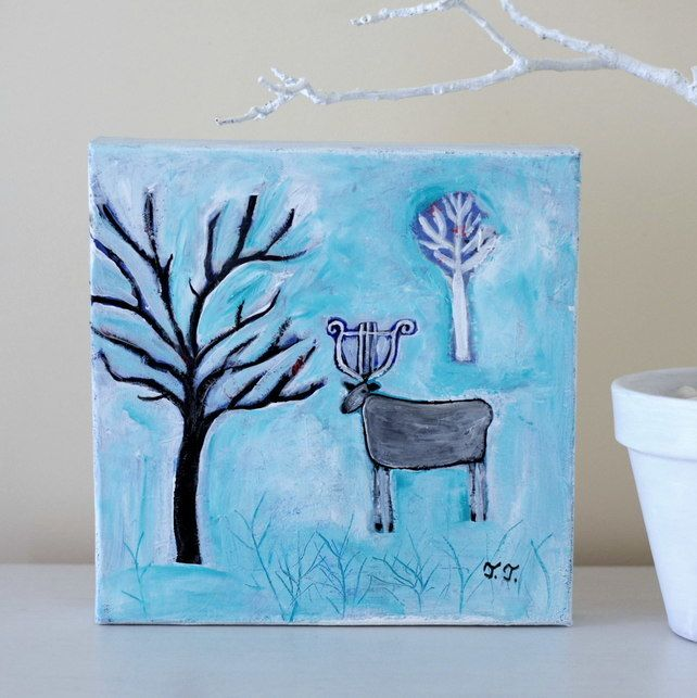 Winter Painting with Deer and Tree, White Turquoise Nature Artwork, Music Art £34.00