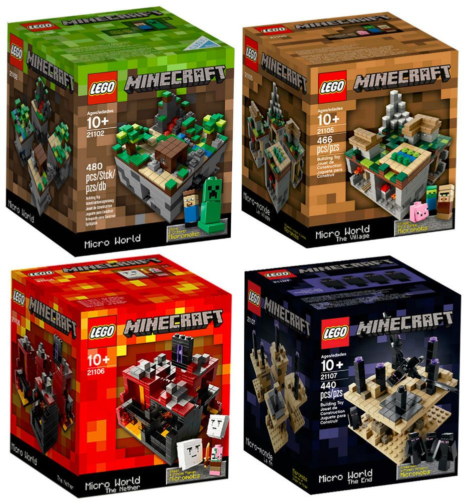 4 Minecraft Lego Sets 21102 21105 21106 21107 Village Nether