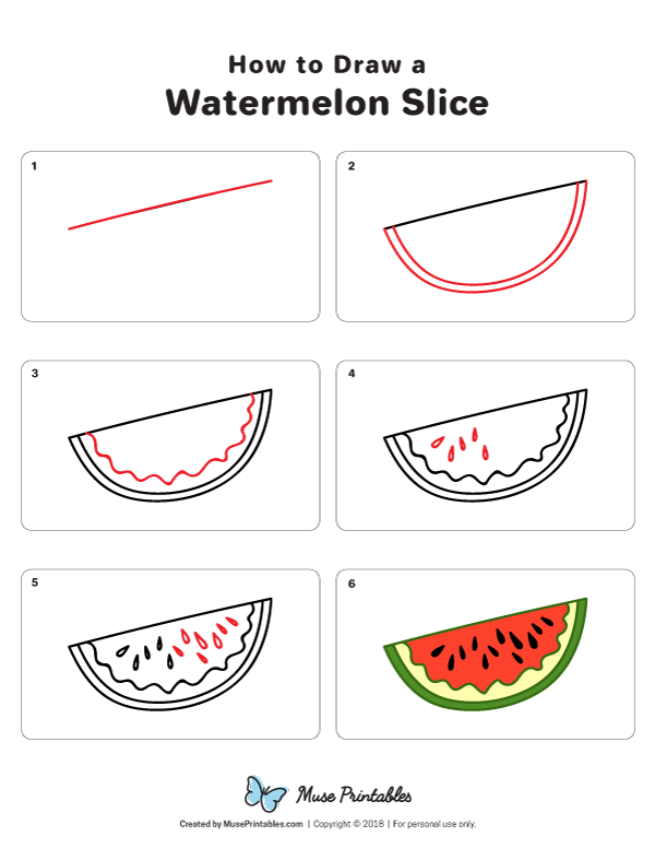 Learn How To Draw A Watermelon Slice Step By Step Download A Printable Version Of This Tutorial At Https Cute Easy Drawings Watermelon Drawing Easy Doodle Art
