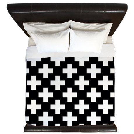 noir et blanc suisse croix housse de couette housse de couette 3 tailles disponibles roi. Black Bedroom Furniture Sets. Home Design Ideas