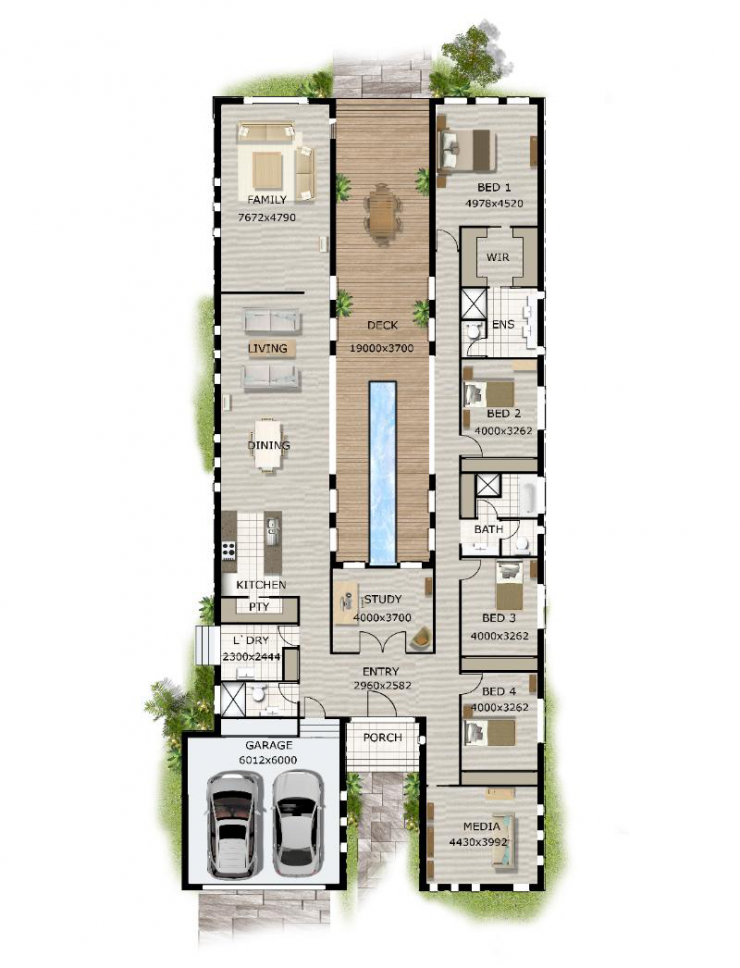 Modern Narrow Block House Designs Floor Plan Four Bedrooms Floor Plan Friday Pool in the