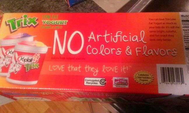Yogurt without dye! Seems as though Yoplait uses natural coloring.