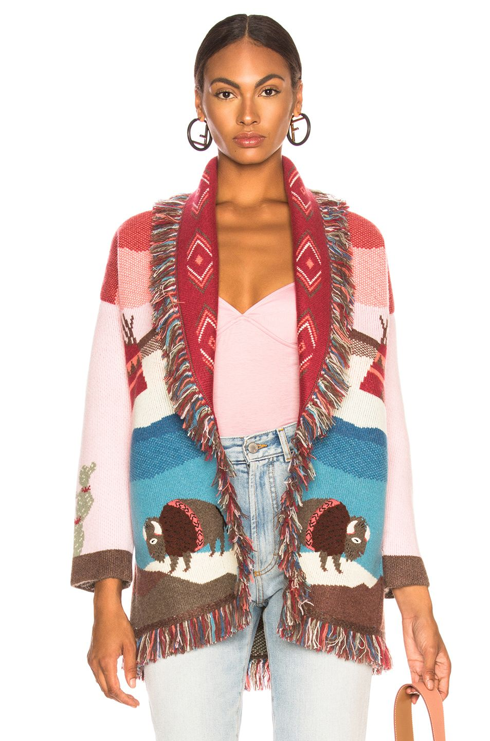 86b24cddef Image 1 of ALANUI Lunar Phases Oversized Jacquard Cardigan in Ophelia Pink  Multi