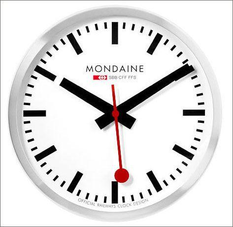 Mondaine Large Swiss Railway Clock Silver Swiss Railway Clock Clock Swiss Railway Wall Clock